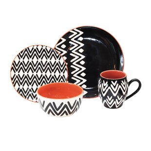 Wavy Lines 16 Piece Dinnerware Set Service for 4. by Baum  sc 1 st  Wayfair & Baum Brothers Dinnerware | Wayfair