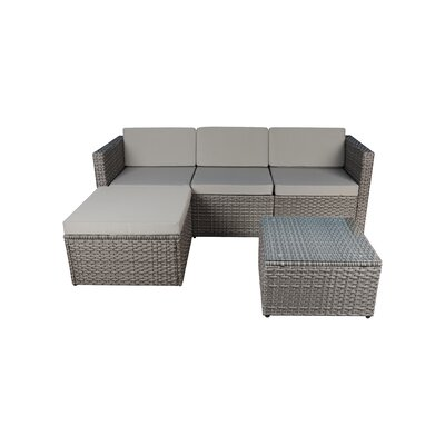 Wrought Studio Faught 3 Piece Rattan Sectional Set With Cushions Fabric: Gray, Frame Color: Gray