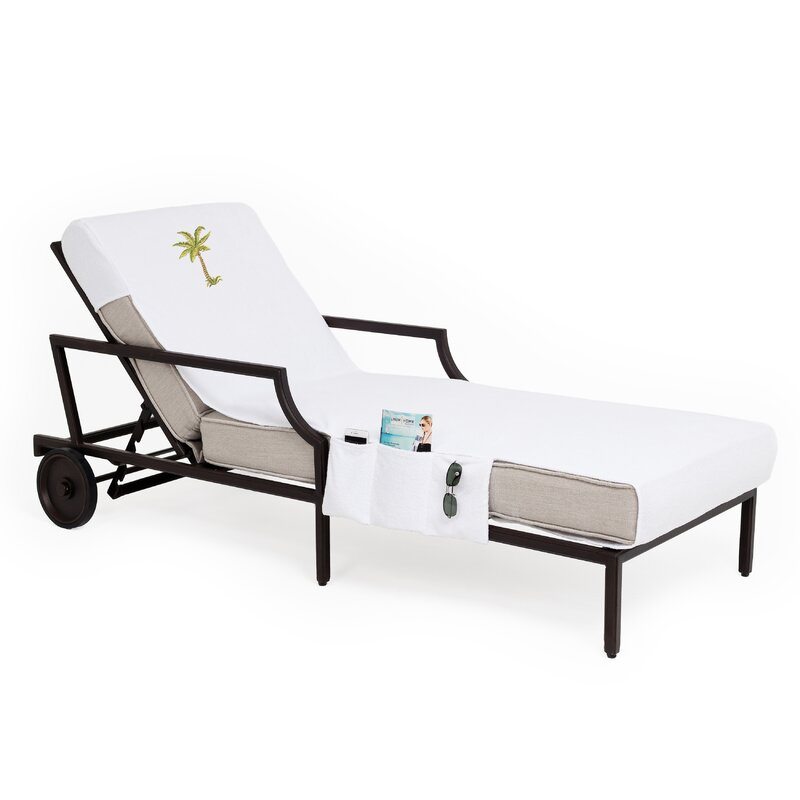 Palm Tree Embroidered Standard Patio Chaise Lounge Cover With Side Pockets