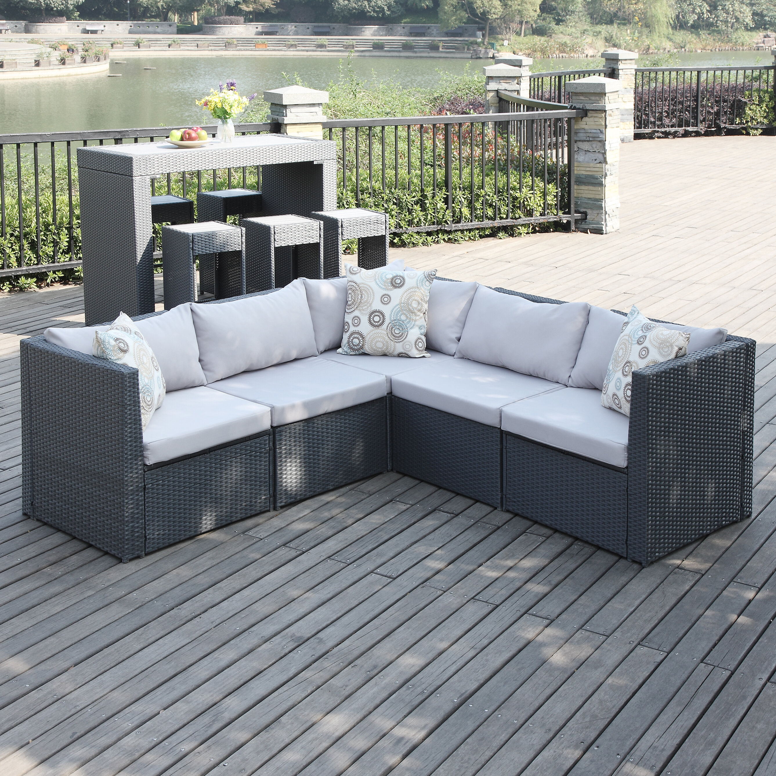 Mercury Row Lachesis Patio Sectional with Cushions & Reviews