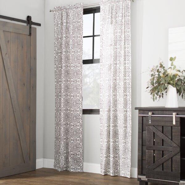 Livio Damask Semi Sheer Rod Pocket Curtain Panels