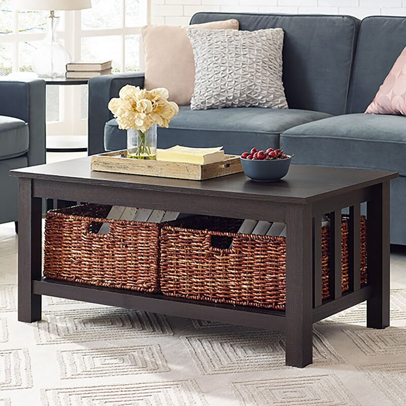 Goldhorn Wood Storage Coffee Table & Reviews | Birch Lane