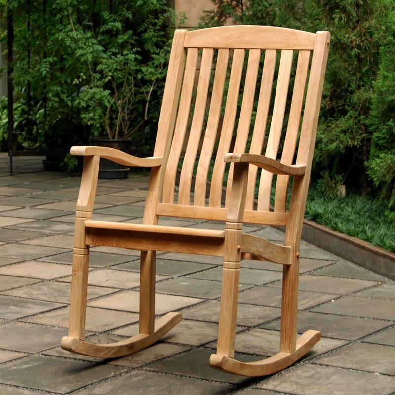 Bayou Breeze Cynthia Porch Teak Rocking Chair & Reviews ...