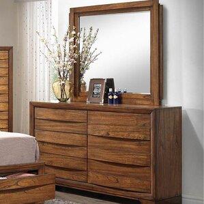 Russet Storage 6 Drawers Dresser with Mirror by Loon Peak