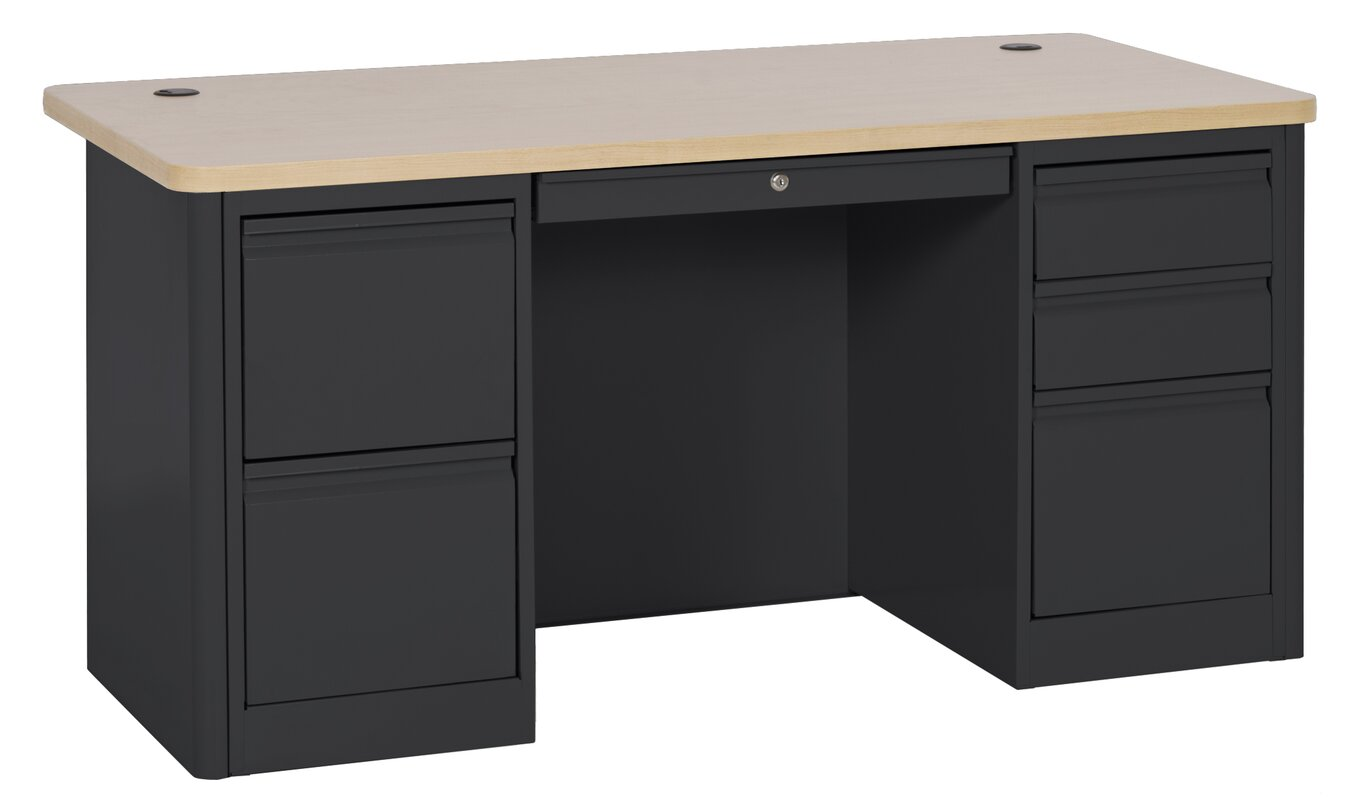 900 series double pedestal computer desk with hutch