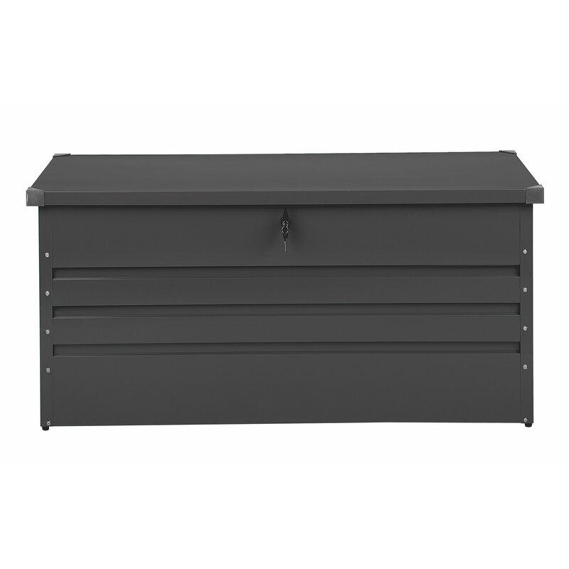 Beliani Cebrosa Outdoor 105 Gallon Metal Deck Box  Color: Gray