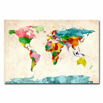 30 height map wall art youll love wayfair watercolor world map by michael tompsett graphic art on canvas gumiabroncs Images
