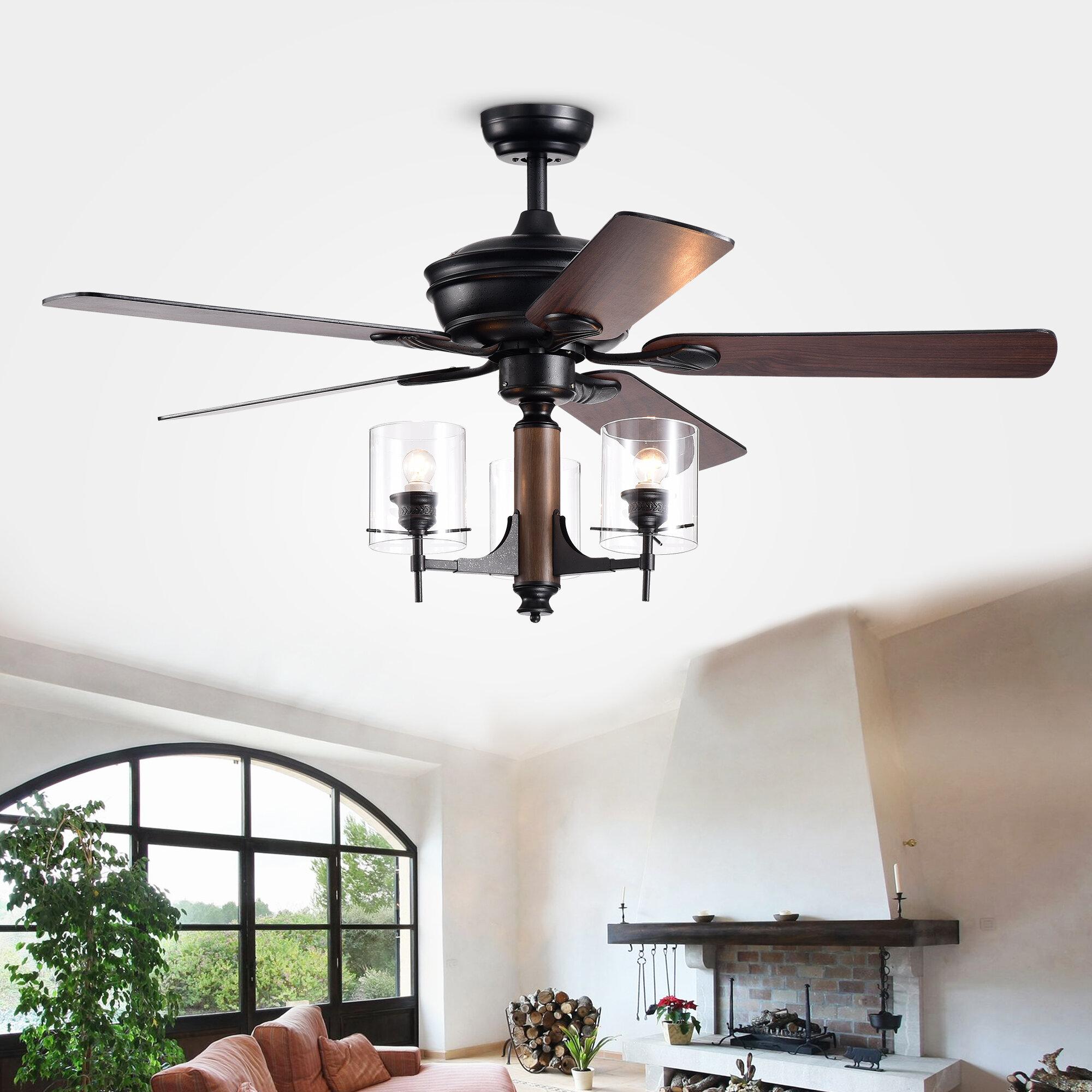 Gracie oaks 52 poirier 5 blade ceiling fan with remote wayfair