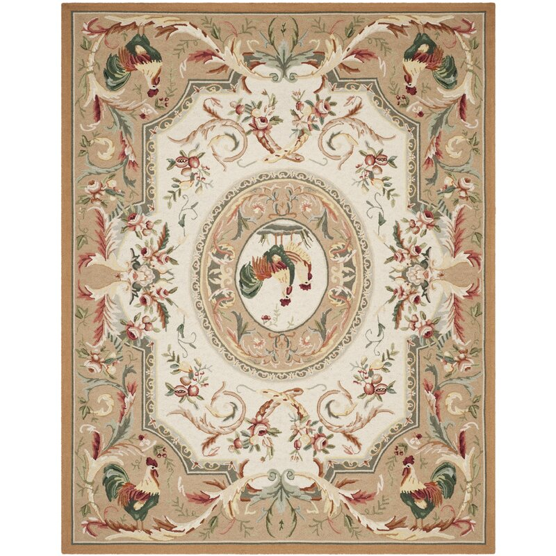 August Grove Kinchen Hand-Hooked Wool Taupe/Red/Green/Orange Area Rug, Size: Rectangle 89 x 119