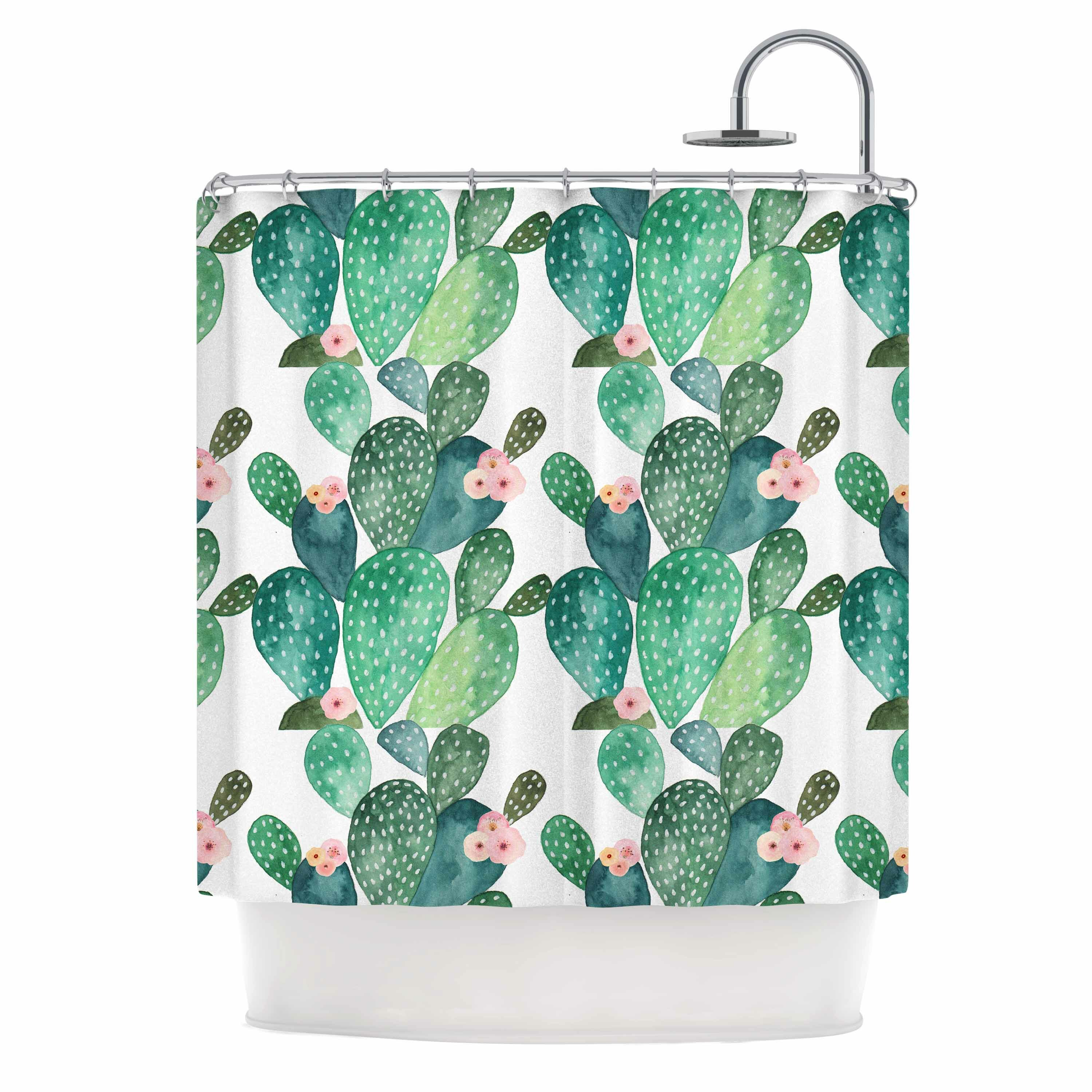 East Urban Home Cactus Shower Curtain