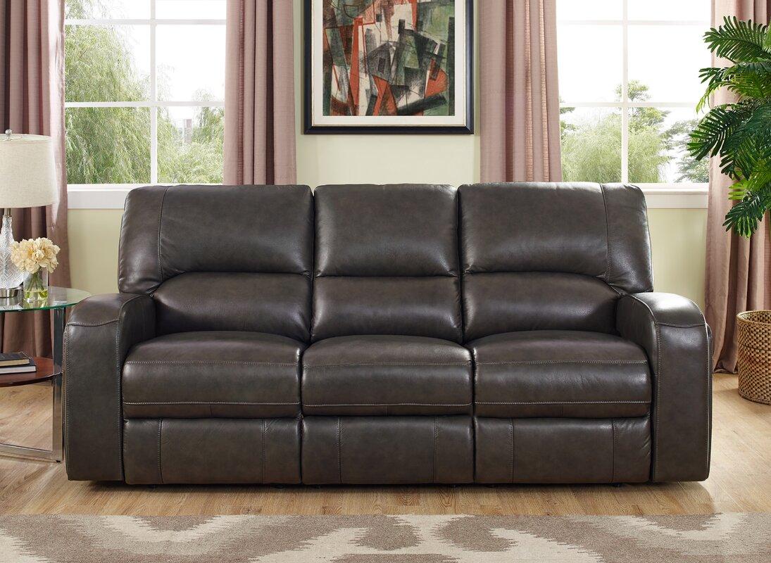 Red Barrel Studio Woodhull Leather Reclining Sofa Reviews Wayfair ~ Leggett And Platt Leather Recliner Sofa