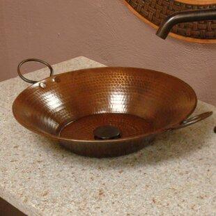 Miners Pan Hammered Copper Metal Circular Vessel Bathroom Sink