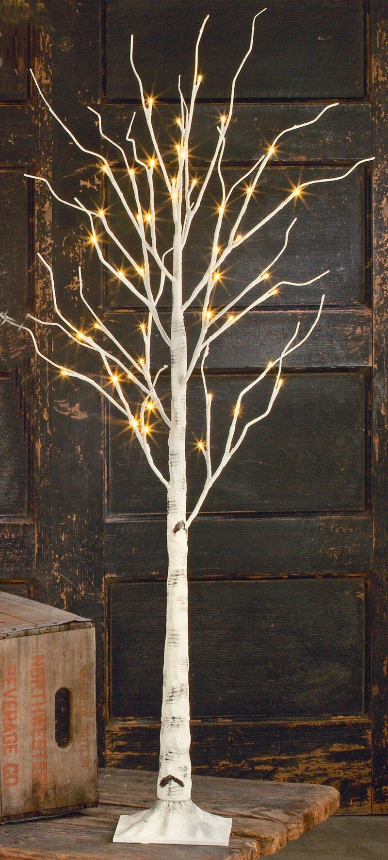 loon peak indoor birch led lighted tree reviews wayfair. Black Bedroom Furniture Sets. Home Design Ideas