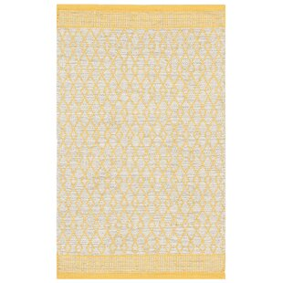 Bay Handmade Dhurrie Cotton Yellow Rug by Home Loft Concept