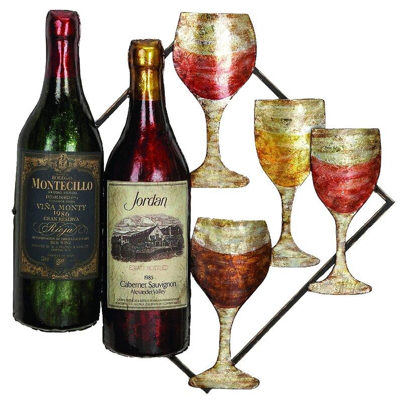Fleur De Lis Living Vino Wine Bottle And Glass Hanging Metal Art