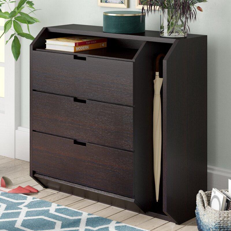 Contemporary 9 Pair Shoe Storage Cabinet