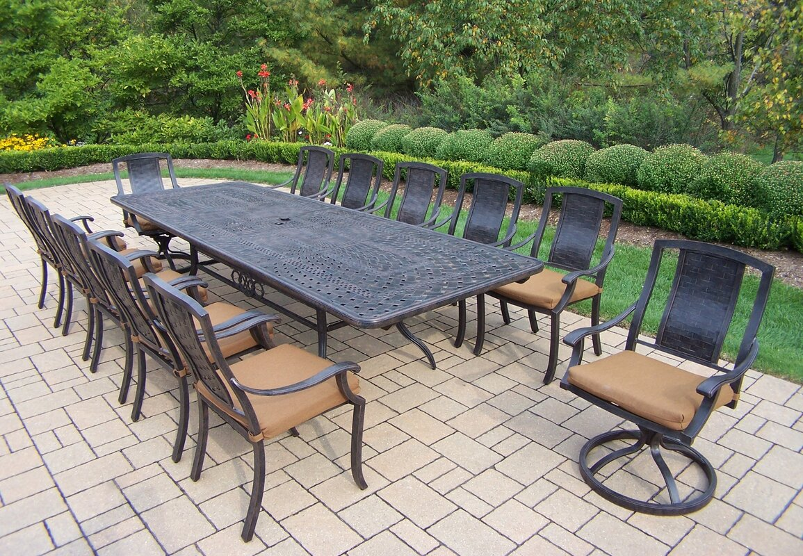 Charming Vanguard 13 Piece Dining Set With Cushions