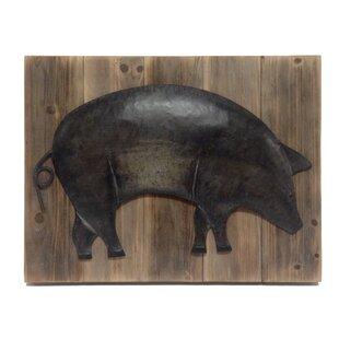 Alexander Metal Pig On Barnboard Wall Art Panel