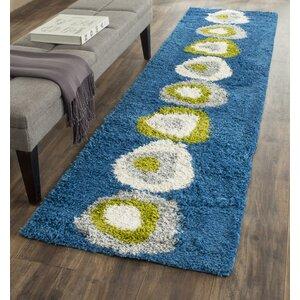 Shag Wool Blue Area Rug
