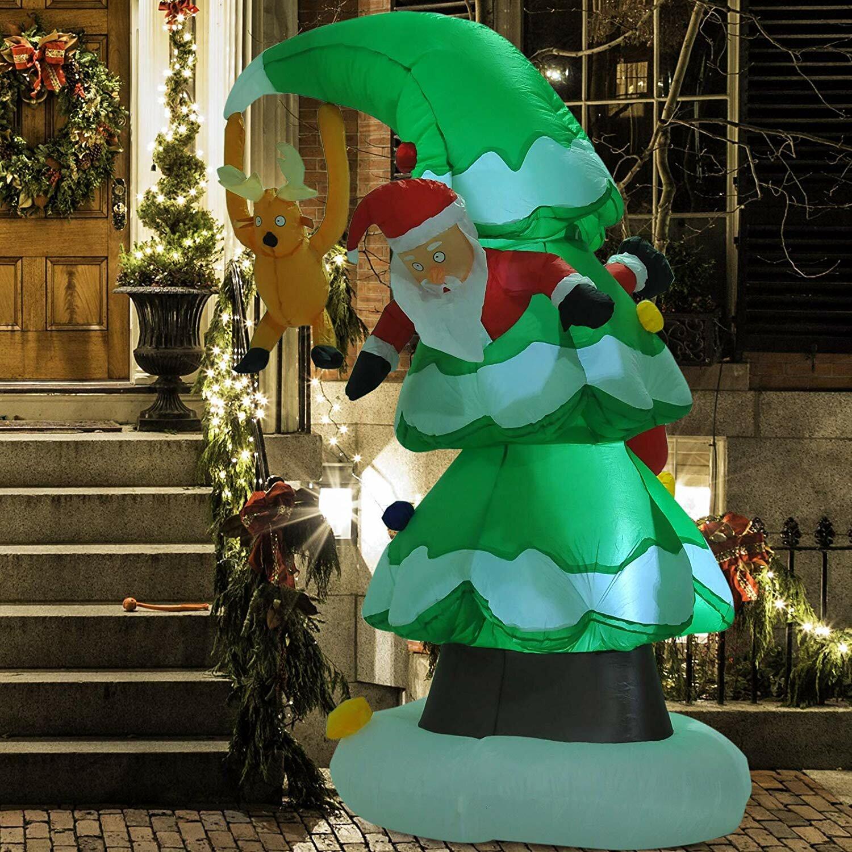 Inflatable Christmas Tree.Xmas Christmas Tree Stuck Santa Rudolph Reindeer Inflatable