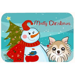 Snowman with Chihuahua Kitchen/Bath Mat
