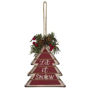 'Let it Snow' Wooden and Iron Tree Shaped Ornament