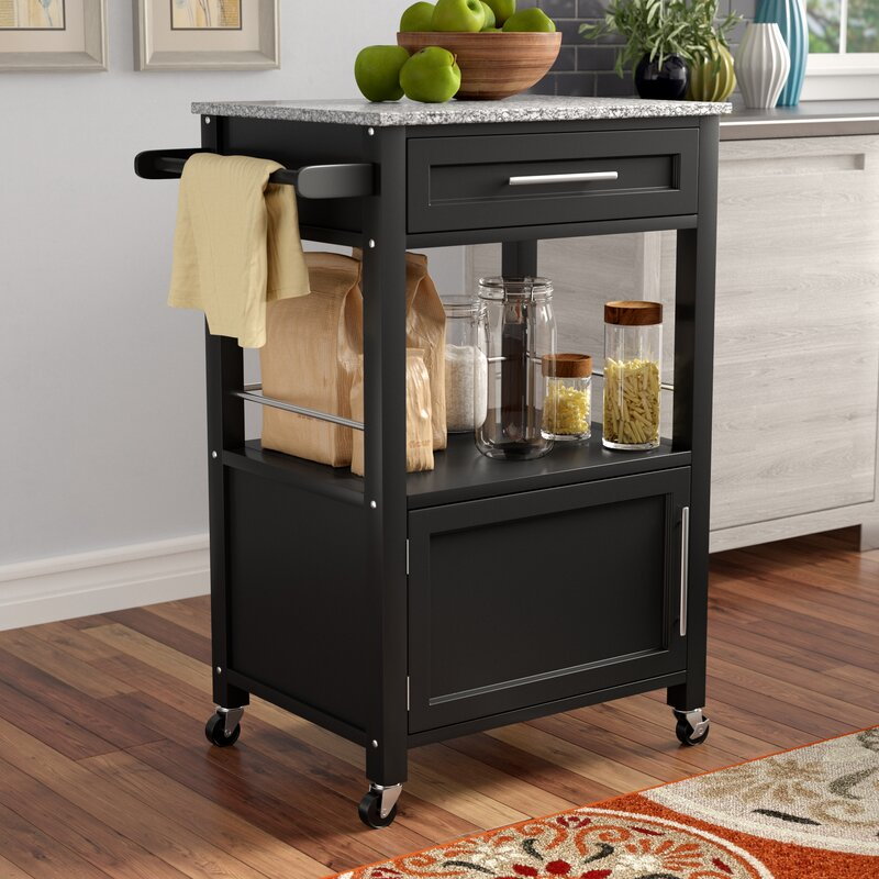 Beau Dunigan Kitchen Cart With Granite Top