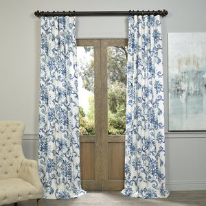 Havana Nature/Floral Printed Cotton Twill Rod Pocket Single Curtain Panel