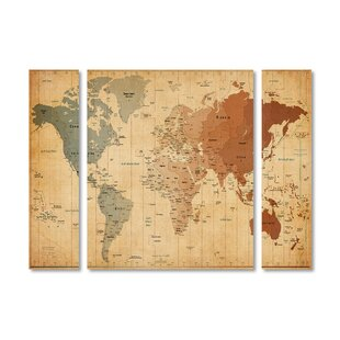 World map multi panel canvas wayfair time zones world map by michael tompsett 3 piece graphic art on wrapped canvas set publicscrutiny Choice Image