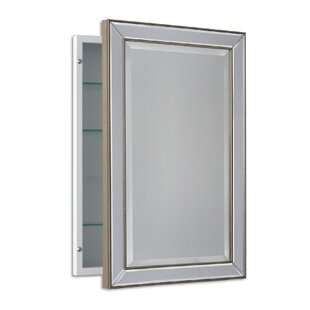 Weslaco Beaded 16 X 26 Recessed Framed Medicine Cabinet With 3 Adjule Shelves