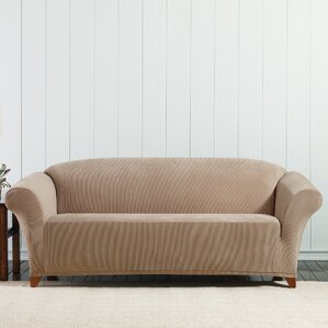 Stretch Corduroy Box Cushion Sofa Slipcover ..