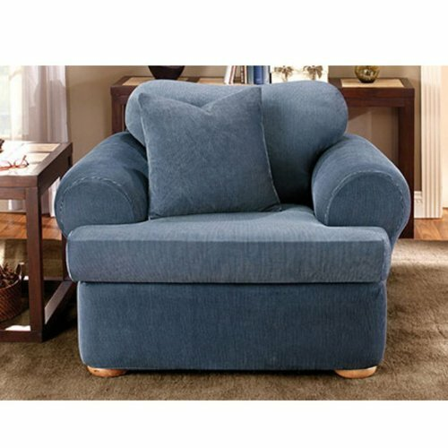 Sure Fit Stretch Stripe Armchair T Cushion Slipcover