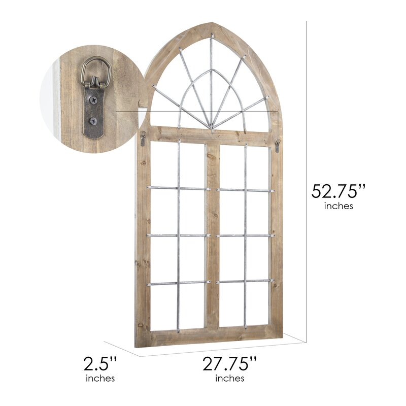 385bc9e1e5 Ophelia & Co. Farmhouse Wood and Metal Arched Window Door Wall Decor ...