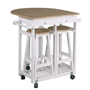 Kitchen Trolley Bar Cart with 2 Stools an..