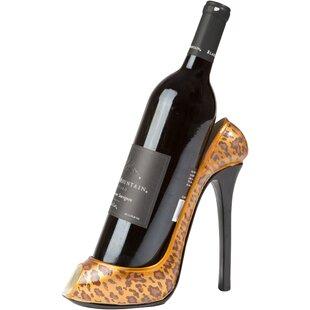 Leopard Print High Heel 1 Bottle Tabletop Wine Rack