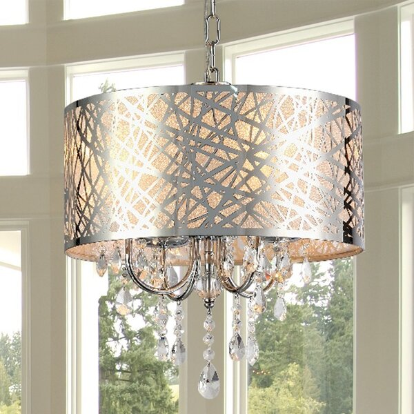 Warehouse Of Tiffany Abstract 4 Light Crystal Chandelier Reviews Wayfair