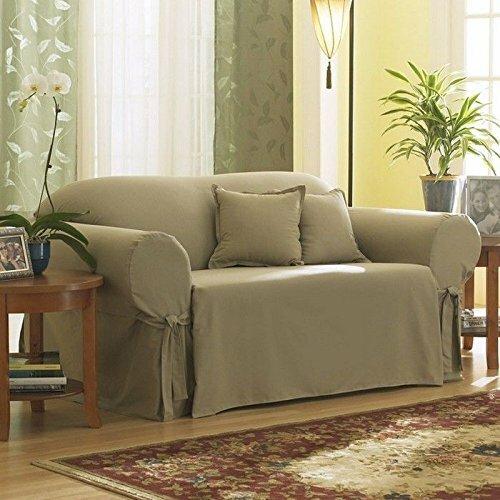 Sure Fit Cotton Duck Box Cushion Loveseat Slipcover