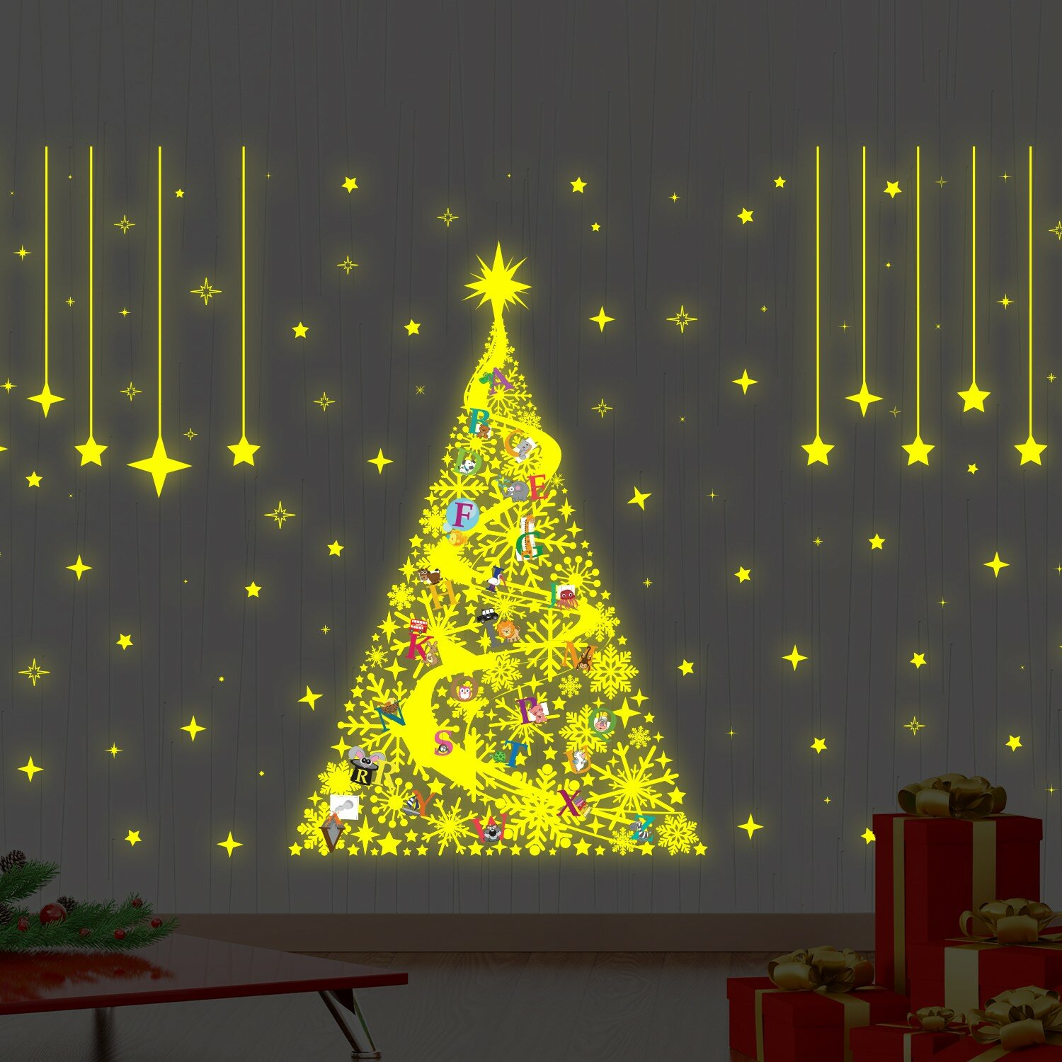 The Holiday Aisle Learn the ABC Magic Glow in Dark Christmas Wall ...