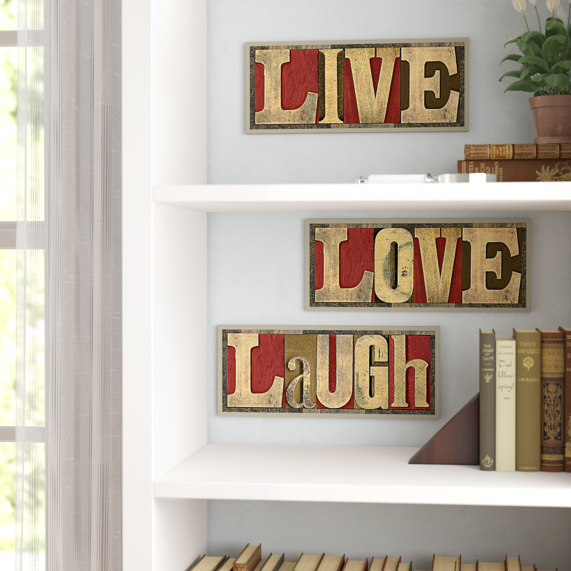 Red Barrel Studio \'Live Love Laugh\' Inspirational 3 Piece Textual ...
