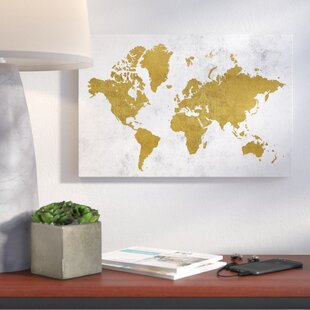 Map wall art joss main golden world map graphic art print on wrapped canvas gumiabroncs Images