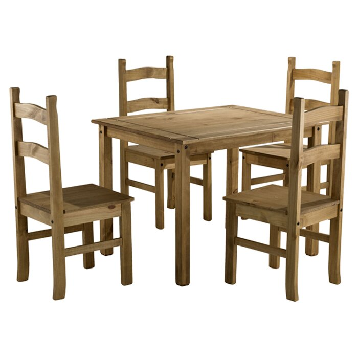 Home Amp Haus Traditional Corona Dining Set With 4 Chairs