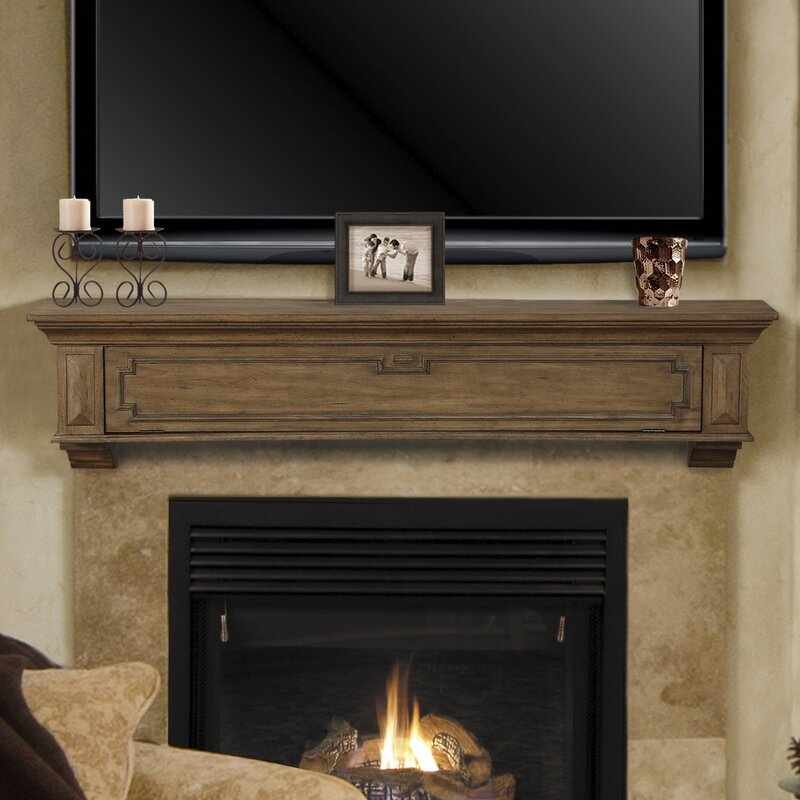 Pearl Mantels Thomas Drop Front Storage Fireplace Mantel Shelf ...