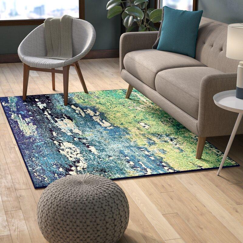 Green Navy Rug: Latitude Run Tavistock Green/Navy Blue Area Rug & Reviews