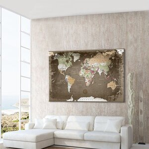 World Map Used with Cork Back Graphic Art on Canvas