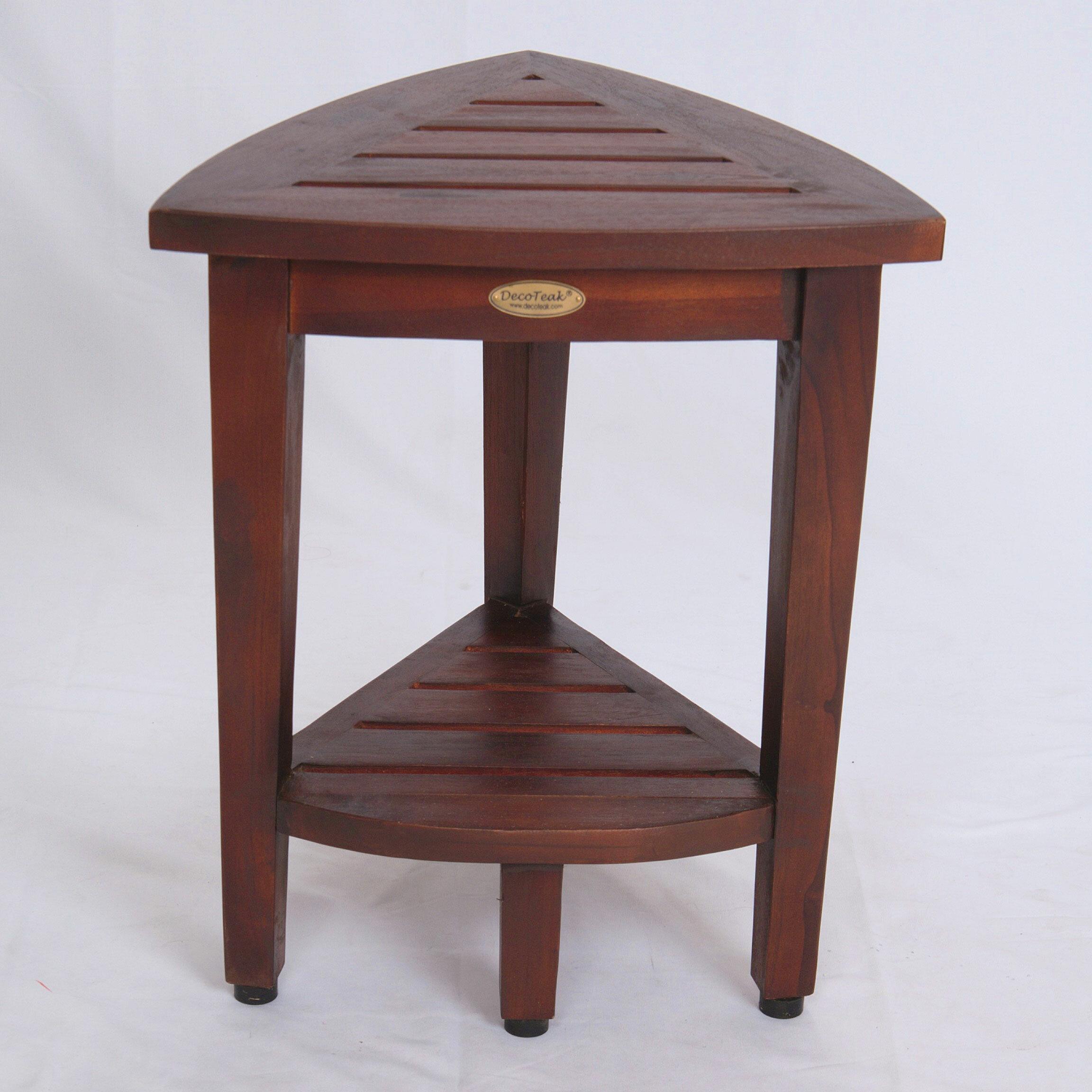 Decoteak Oasis Compact Teak Corner Shower Seat & Reviews   Wayfair