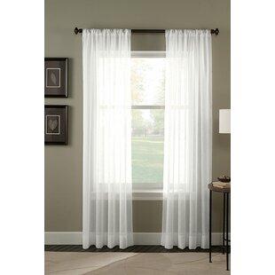 Crinkle Voile Sheer Rod Pocket Single Curtain Panel
