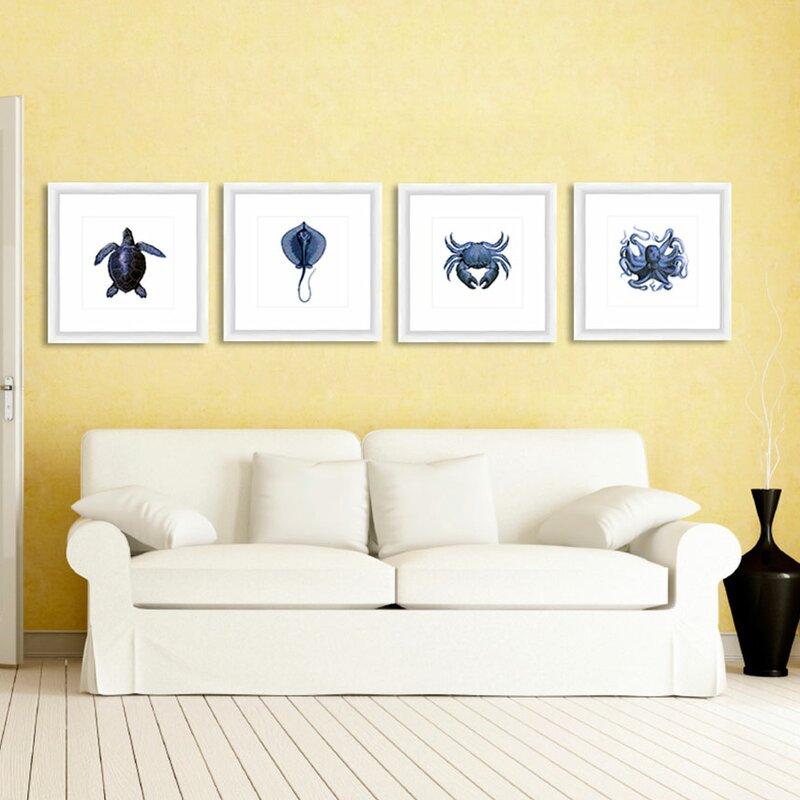 Highland Dunes \'Sea Creatures\' Giclée 4 Piece Framed Graphic Art Set ...