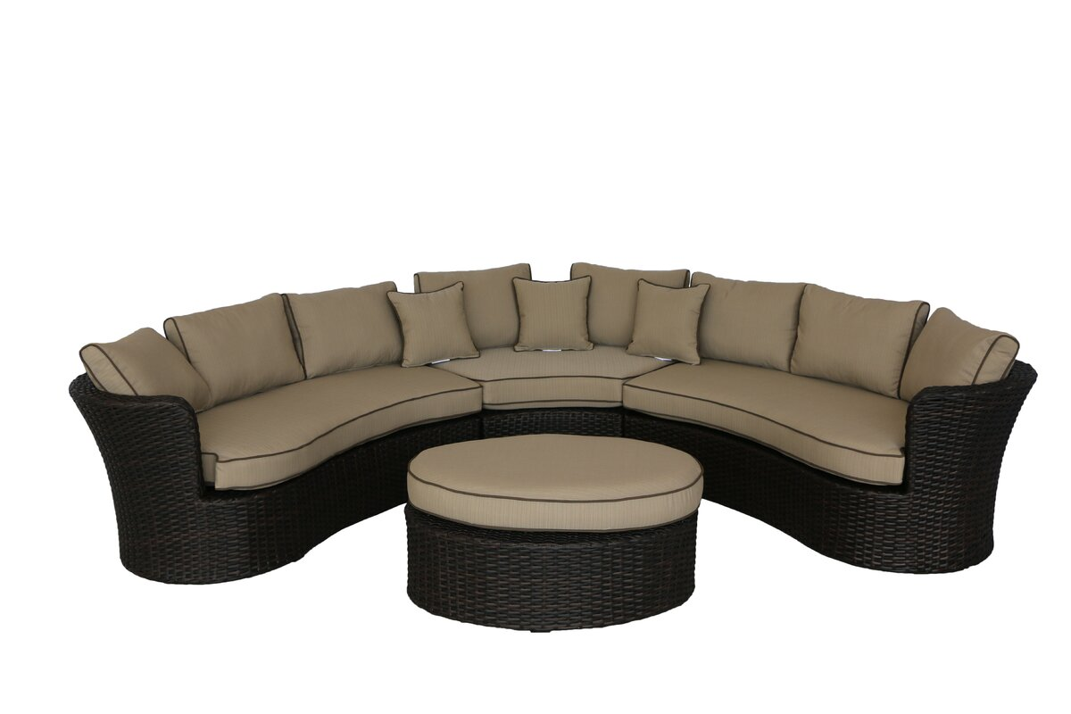 Brayden Studio Seagle 4 Piece Sectional Deep Seating Group with