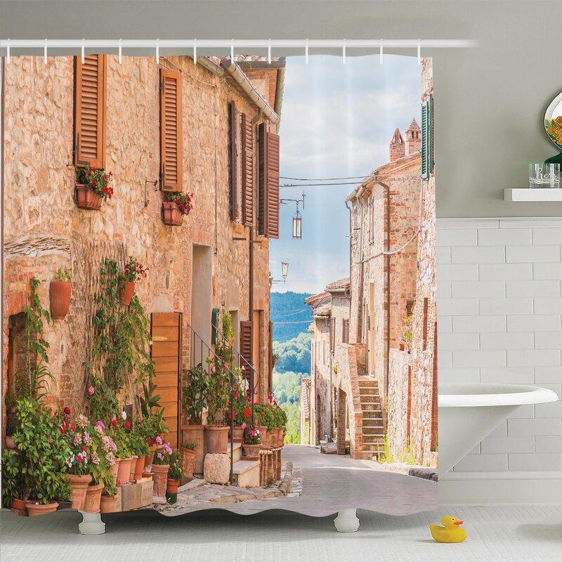 Rustic Medieval Old Village Shower Curtain Set