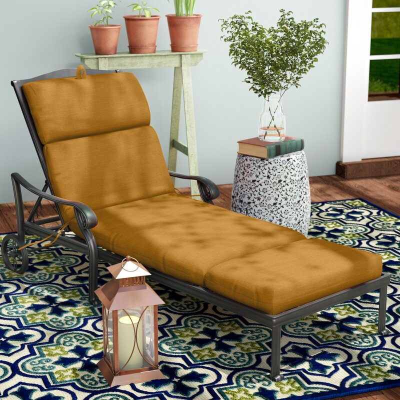 Polyester Indoor Outdoor Chaise Lounge Cushion